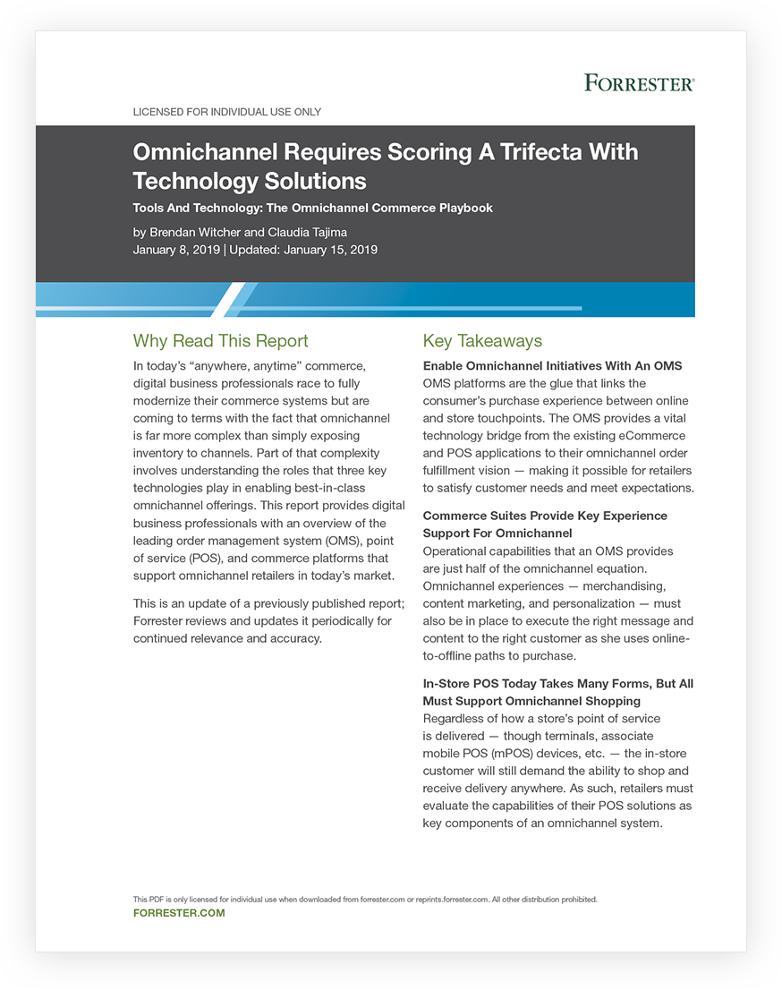 Forrester Report: Omnichannel Requires Scoring A Trifecta With Technology Solutions